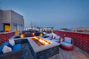 Keep warm by our rooftop fireplace.